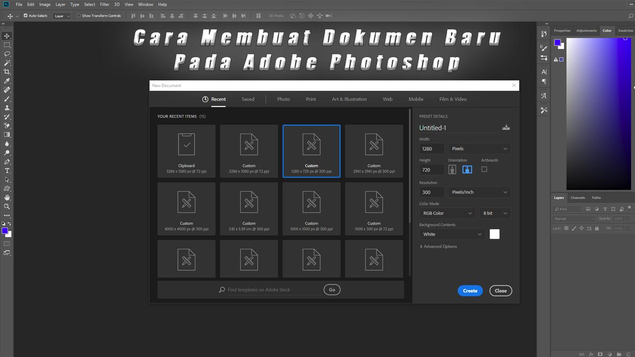 Cara Membuat Dokumen Baru Pada Adobe Photoshop