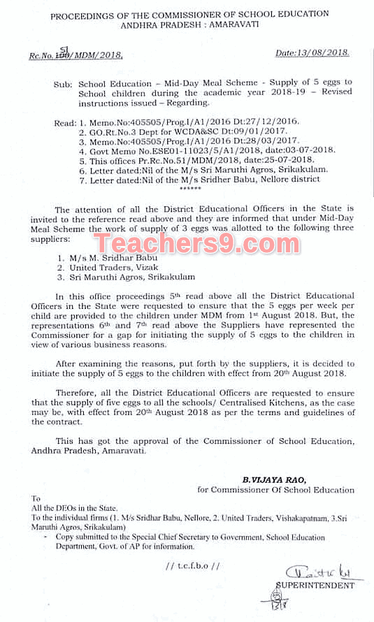R C no 51 Supply of 5 eggs to school children in MDM-Mid Day Meal scheme during 2018-19 revised instructions