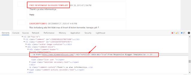 contoh backlink nofollow di kolom komentar blogger