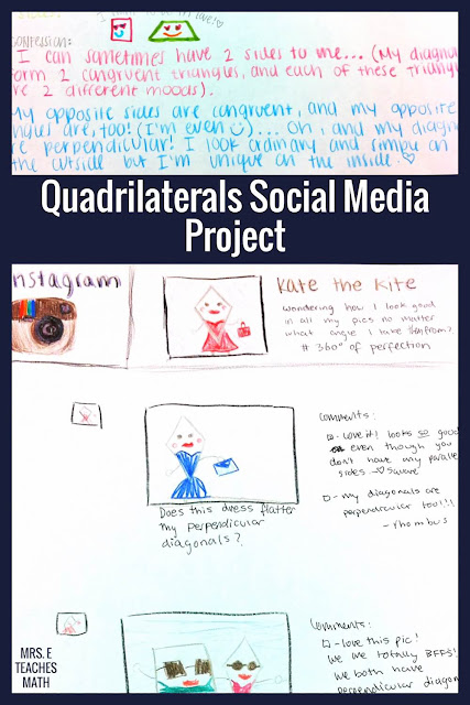 This quadrilaterals product idea is my favorite for high school geometry!  My students loved the social media aspect and it was so much better than a worksheet.  It really helped them with classifying and remembering the properties of quadrilaterals.