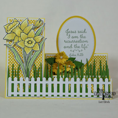 Our Daily Bread Designs Stamp Set:Daffodils, Paper Collection: Birthday Brights: Custom Dies:Daffodil, Side Step Card, Ovals, Pierced Ovals, Grass Border, Fence Border, Bitty Blossoms