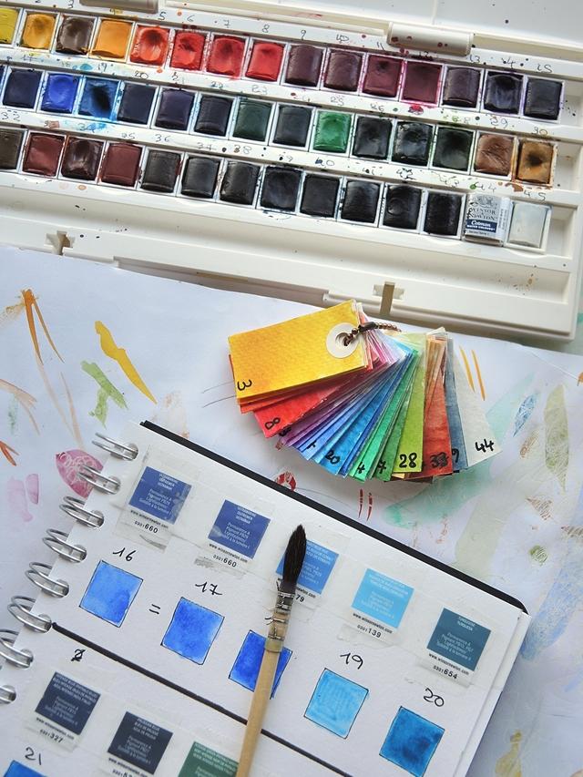 DIY: 2 systemen om aquarelverf in een kleurenbibliotheek te gieten/2 ways to make a colour library for aquarel pans