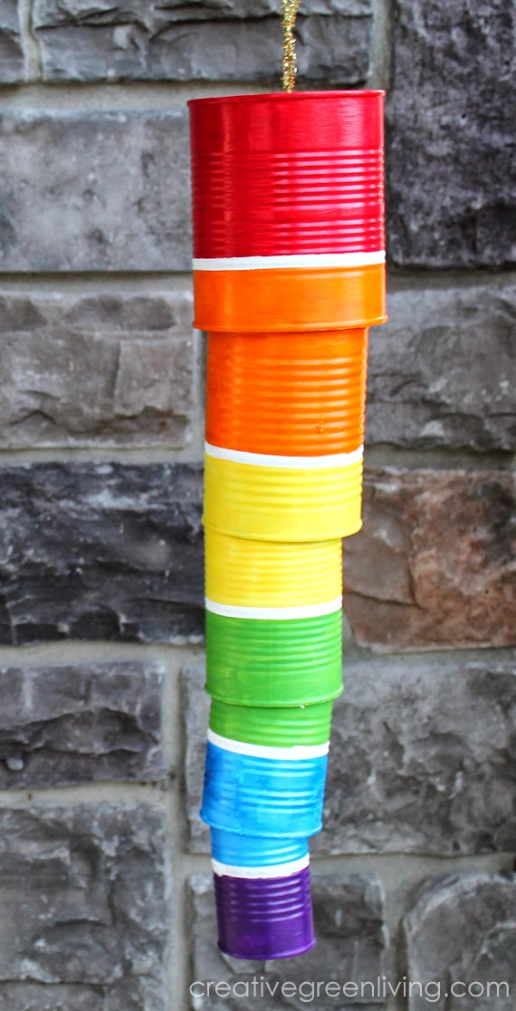 Recycled can rainbow windchime recycled craft for Earth Day
