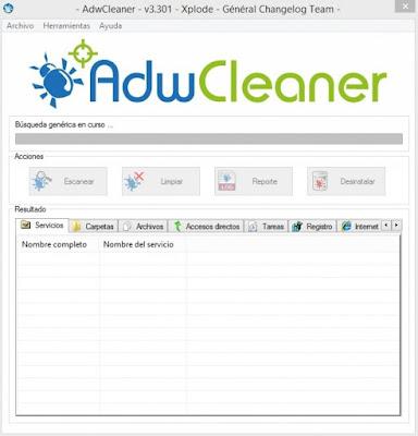 AdwCleaner pantalla secundaria