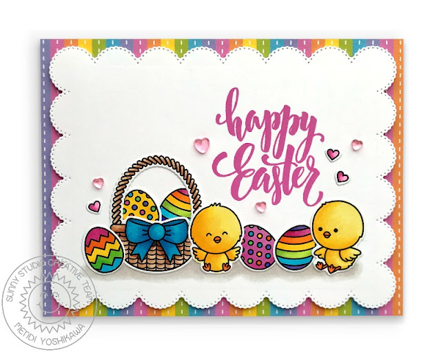 Sunny Studio Blog: Rainbow Striped Scalloped Easter Basket with Eggs & Chicks Handmade Card (using Frilly Frames Eyelet Lace Die, Chickie Baby Stamps & Spring Fling 6x6 Paper)