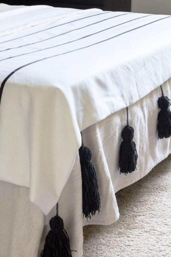 modern blanket with chunky tassels