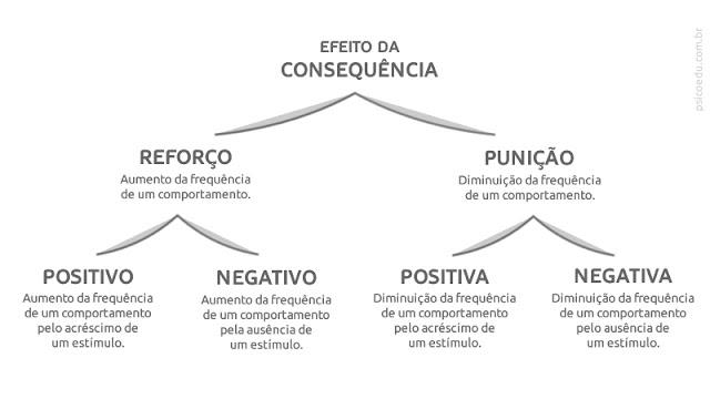 Tipos de consequências: reforço positivo, reforço negativo, punição positiva, punição negativa, , condicionar, condicionamento operante, condicionamento clássico, skinner, pavlov