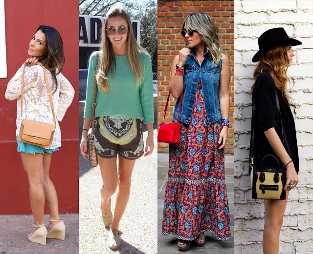 Fashionistas utilizando a nova tendência em bolsas femininas, as míni-bags.