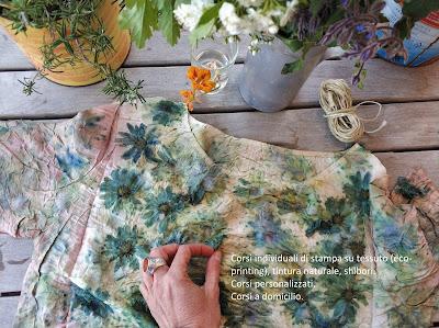 corso corsi ecoprint ecoprinting tintura naturale colori vegetali shibori