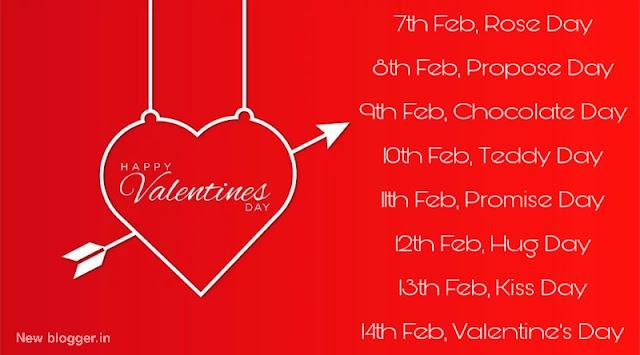 Valentine's week days list image