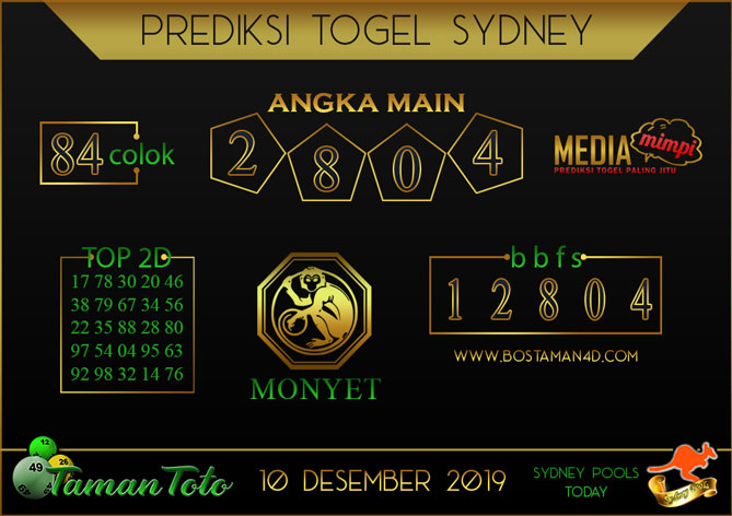 Prediksi Togel SYDNEY TAMAN TOTO 10 DESEMBER 2019