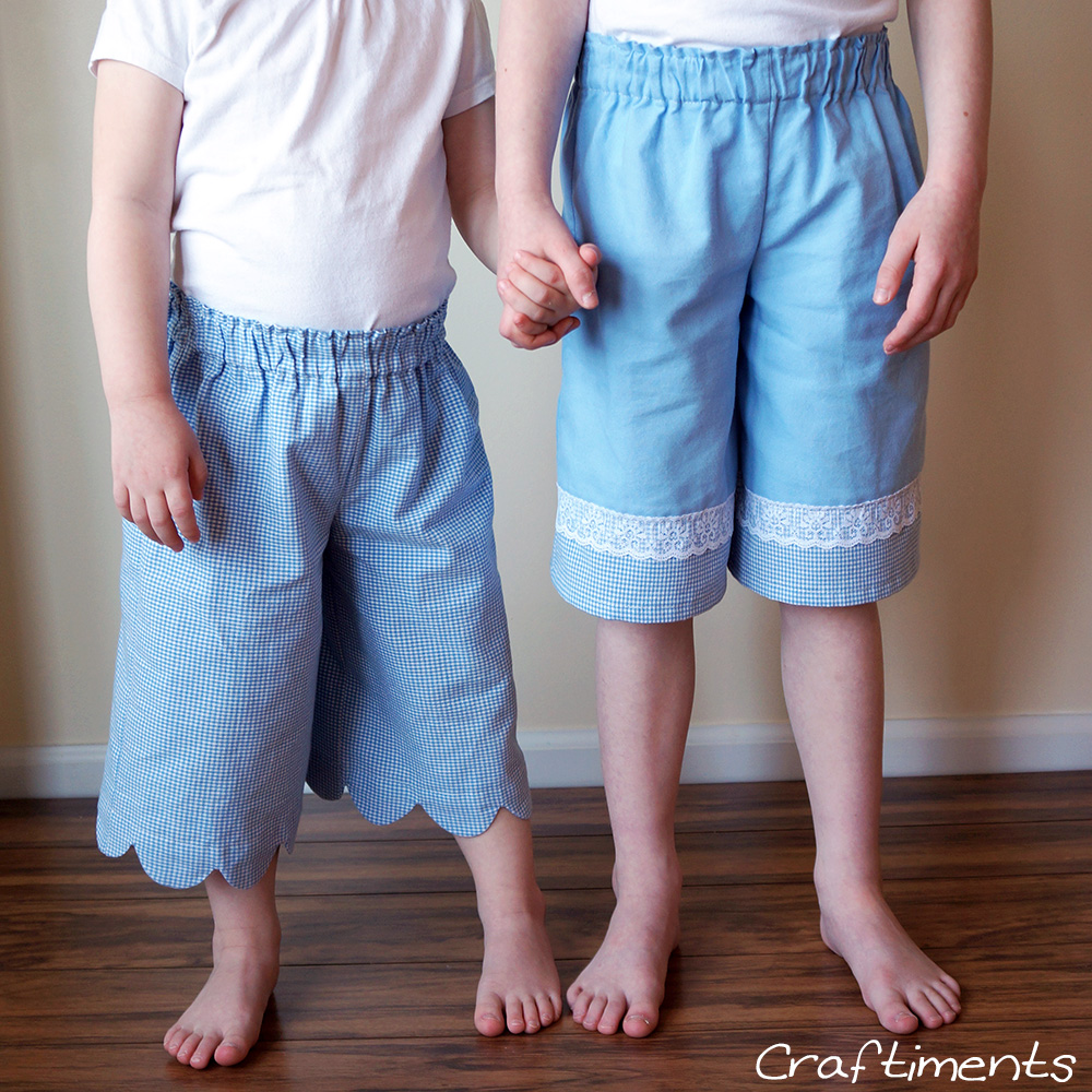 Craftiments:  Girls' gauchos refashioned from adult clothing