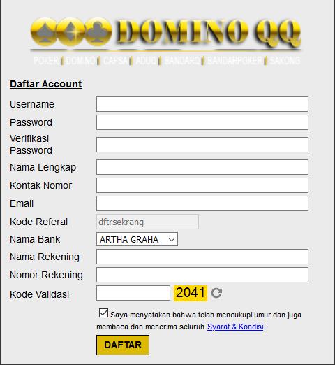Cara Daftar dominoqq99