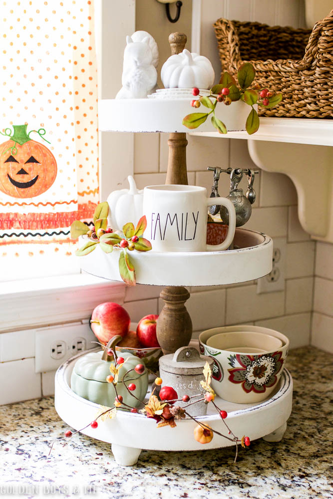 3 tiered kitchen stand from HomeGoods decorated for fall