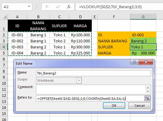Cara Membuat Nama Range Dinamis pada Excel 8