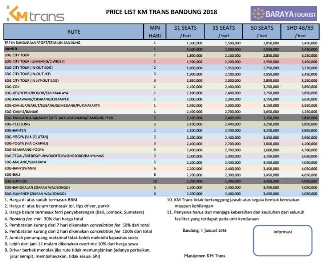 Price List Sewa Bus Pariwisata SHD 2019