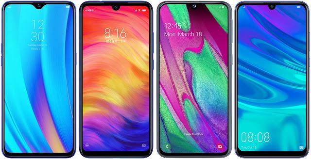 Realme 3 Pro 64 GB vs Xiaomi Redmi Note 7 64G vs Samsung Galaxy A40 vs Huawei P Smart+ 2019