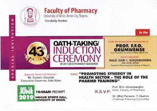 UNIBEN 43rd Oath-Taking/Induction Ceremony of Pharmacy Graduands
