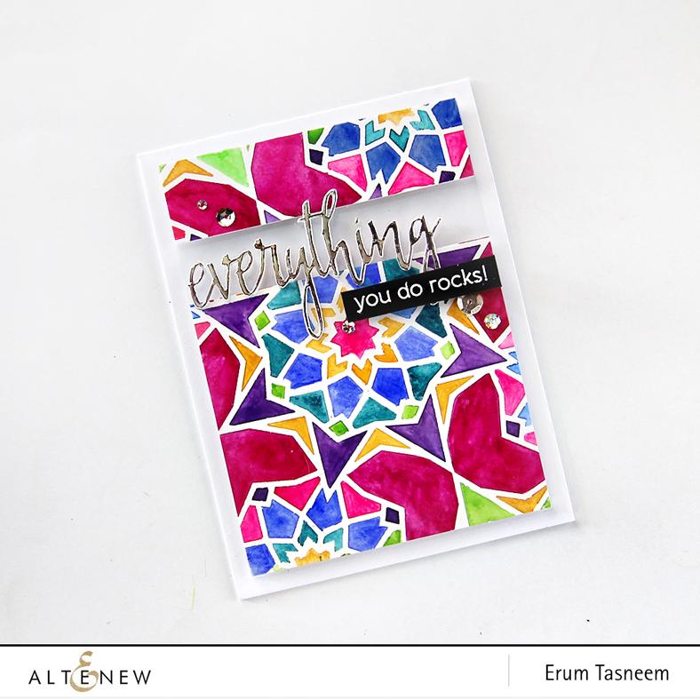 Altenew Layered Kaleidoscope Stencil - B and Halftone Everything. Card by Erum Tasneem - @pr0digy0