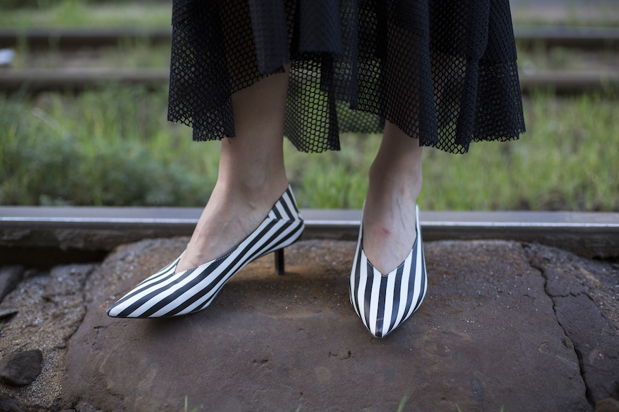 shoes with stripes