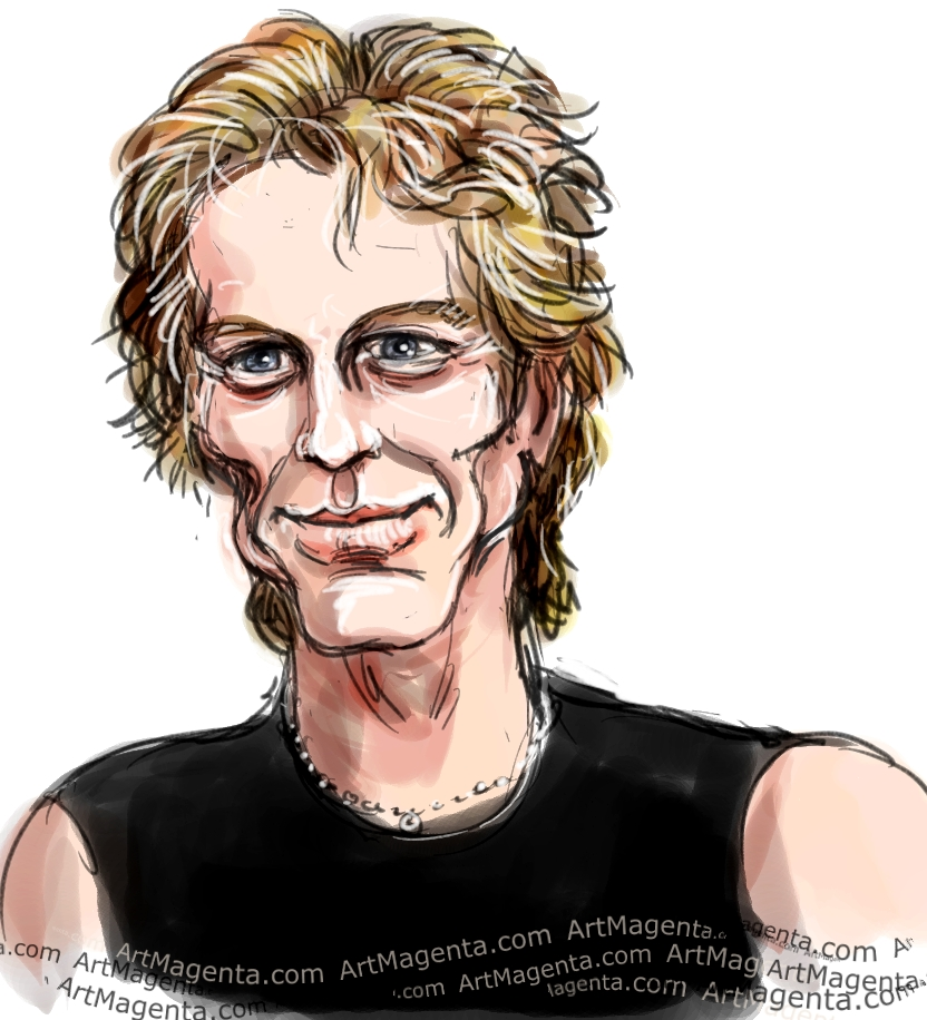 Jon Bon Jovi caricature cartoon. Portrait drawing by caricaturist Artmagenta