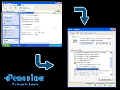 cara menampilkan format file dan hidden file XP
