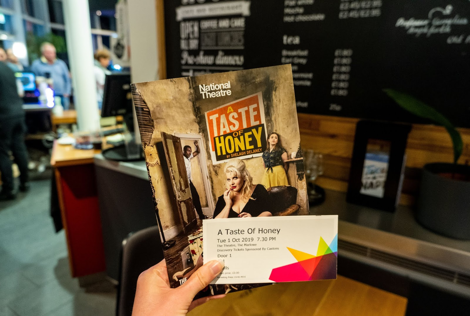My programme and ticket for the National Theatre's A Taste Of Honey at The Marlowe Theatre in Canterbury, Kent