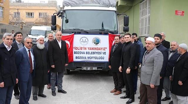 Bozova'dan İdlib'e yardım malzemesi