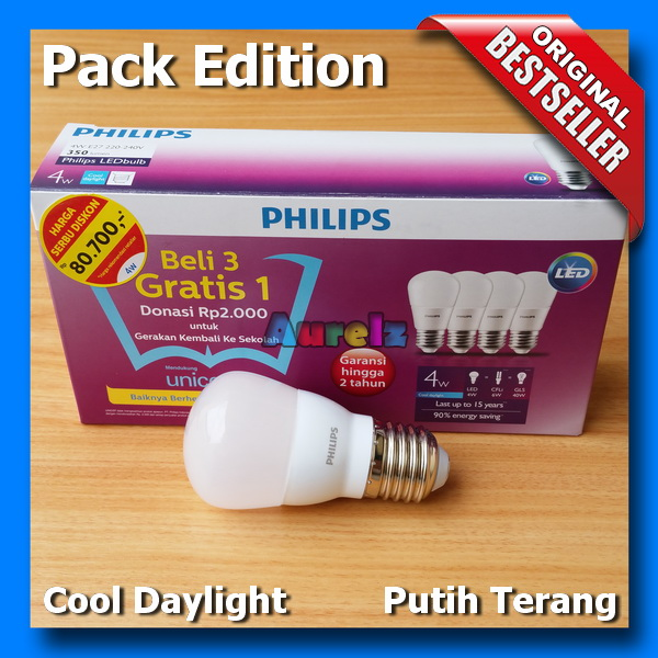 lampu led philips 4 watt cool daylight beli 3 gratis 1 edisi unicef pack edition