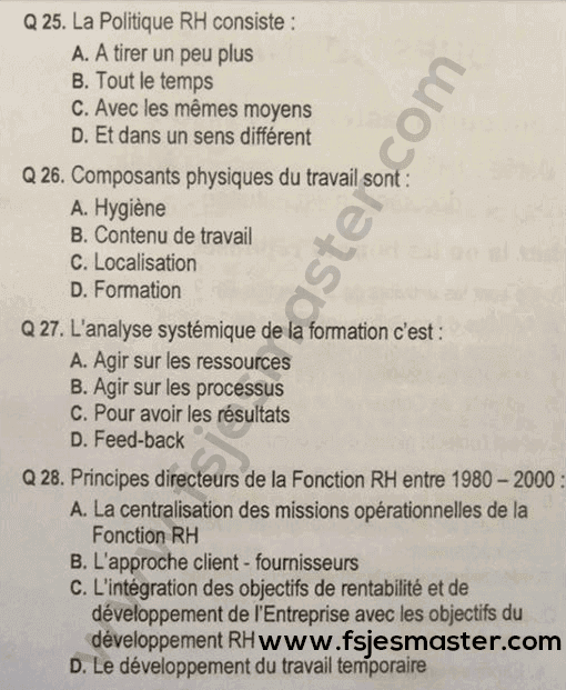 Exemple Concours Master Management des Ressources Humaines (MRH) 2013-2014 Fp-Beni Mellal