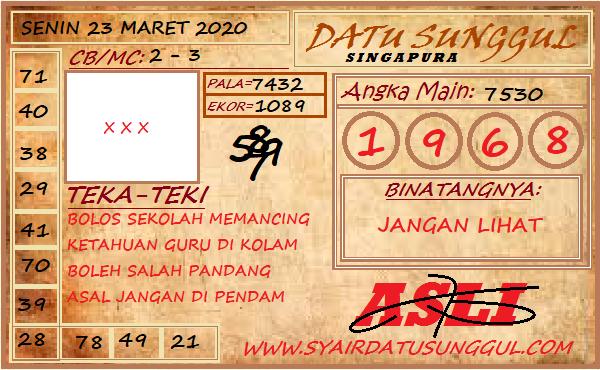 Bocoran Togel Singapura Senin 23 Maret 2020 - Syair Datu Sunggul SGP