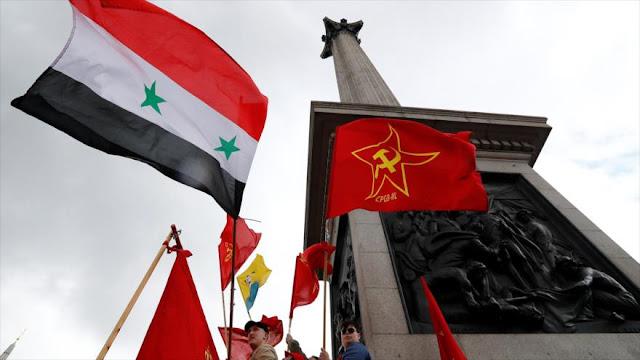 Británicos apoyan al Gobierno sirio en la marcha del 1° de Mayo