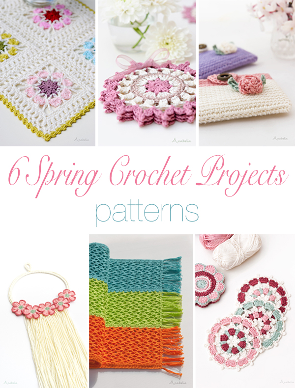 6 Spring crochet projects patterns, Anabelia Craft Design