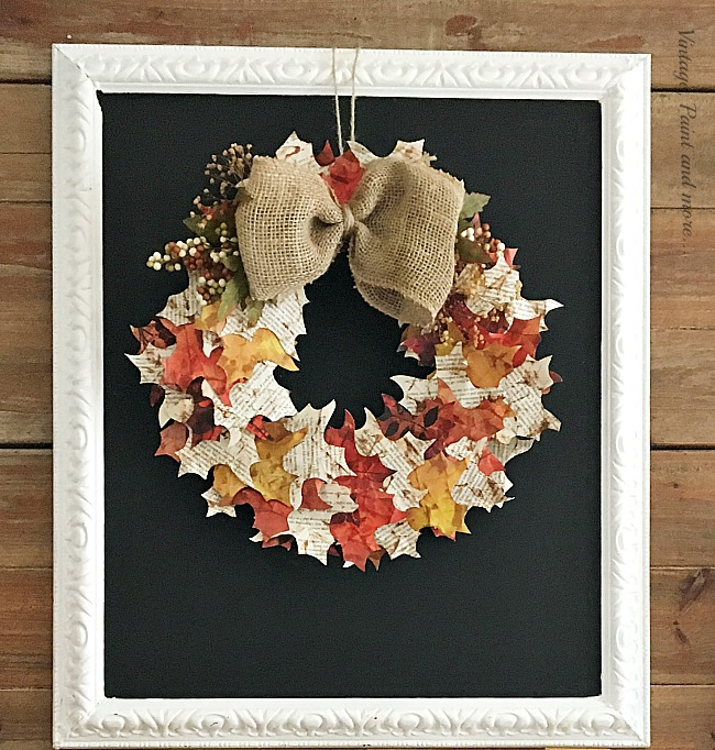 Vintage, Paint and more... diy chalkboard with a diy paper leaf wreath with a burlap bow