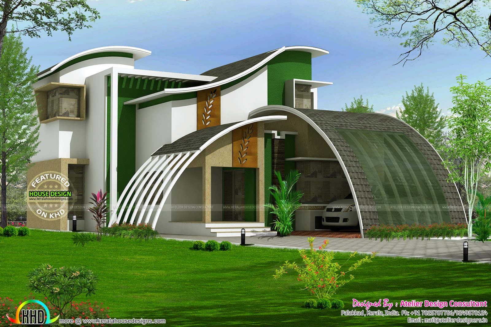 Flowing style curvy roof home plan kerala home design House deaigns