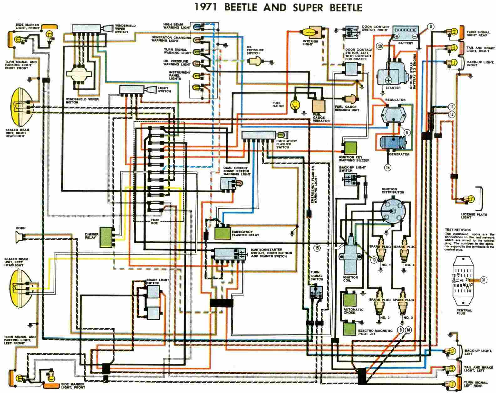 VW Beetle and Super Beetle 1971 Electrical Wiring Diagram | All ...