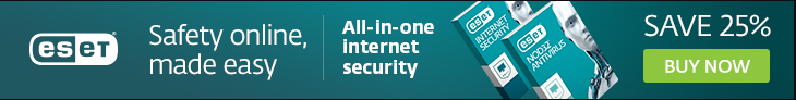 ESET Antivirus and Internet Security for Windows computers and laptops - Save 25% discount coupon codes