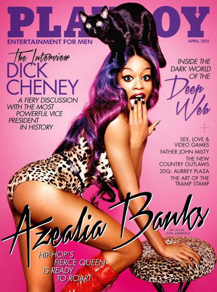 Azealia Banks covers Playboy April 2015 in a leopard print catsuit
