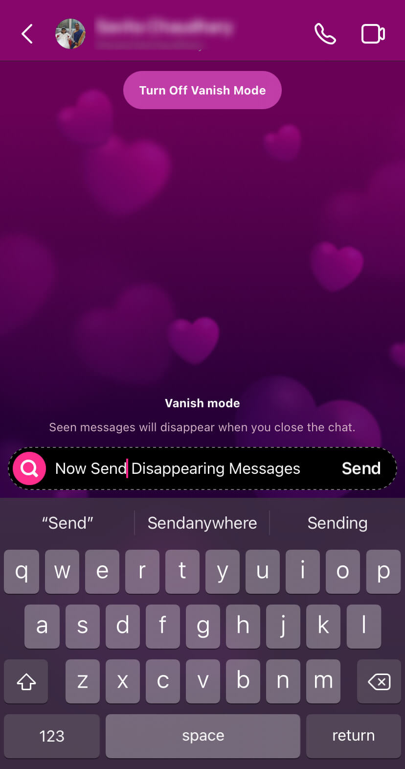 Send disappearing messages in vanish mode on Instagram