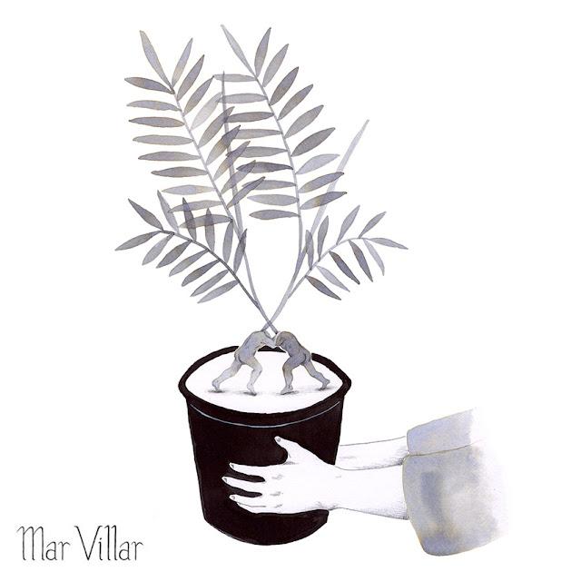Inktober, Inktober 2016, plantas, chamaedorea, ilustración a tinta, lucha, maceta, manos, tinta, aguada de tinta, quink, tinta parker