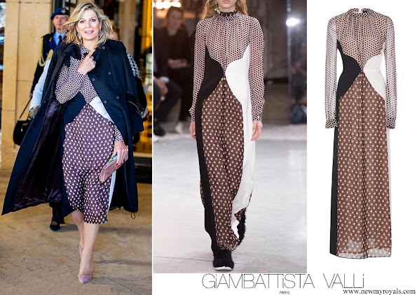 Queen Maxima wore Giambattista Valli print Polka dot Paneled Silk Gown