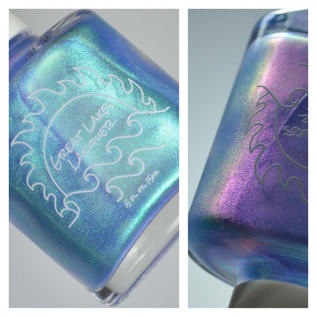 blue to purple shimmer nail polish in a bottle