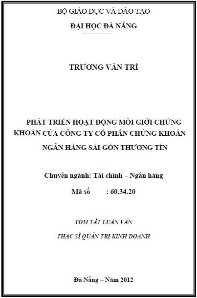 Phát triển hoạt động môi giới chứng khoán của công ty cổ phần chứng khoán ngân hàng Sài Gòn thương tín