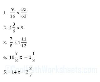 Fractions Multiplication worksheets