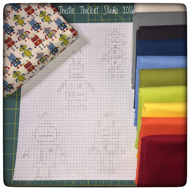 Thistle Thicket Studio, robot quilt, robots all in a row quilt, chevron quilt, robot fabric