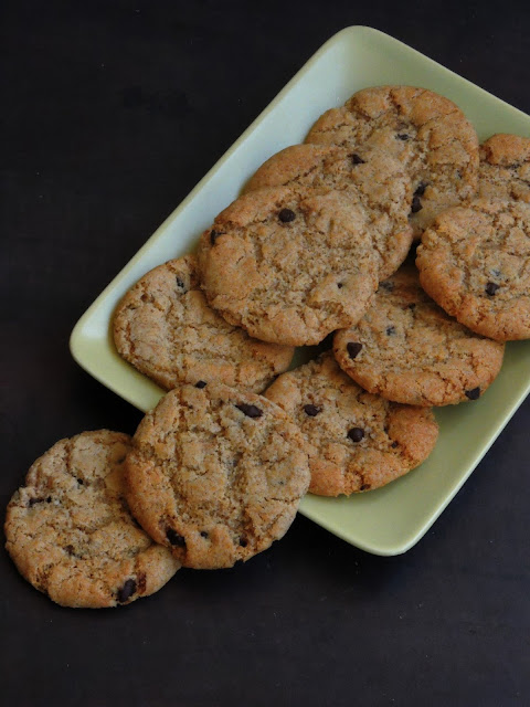 Eggless spelt flour cookies with chocolate chips