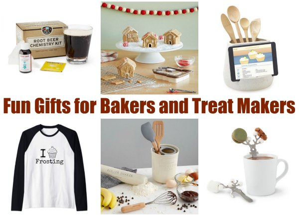 collage of fun and affordable gifts for bakers and treat makers