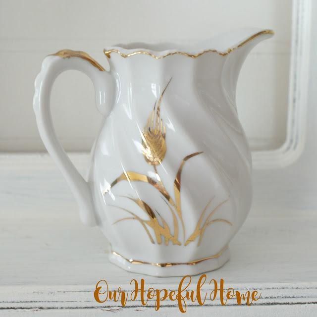 Lefton china gold wheat pattern creamer 1950's