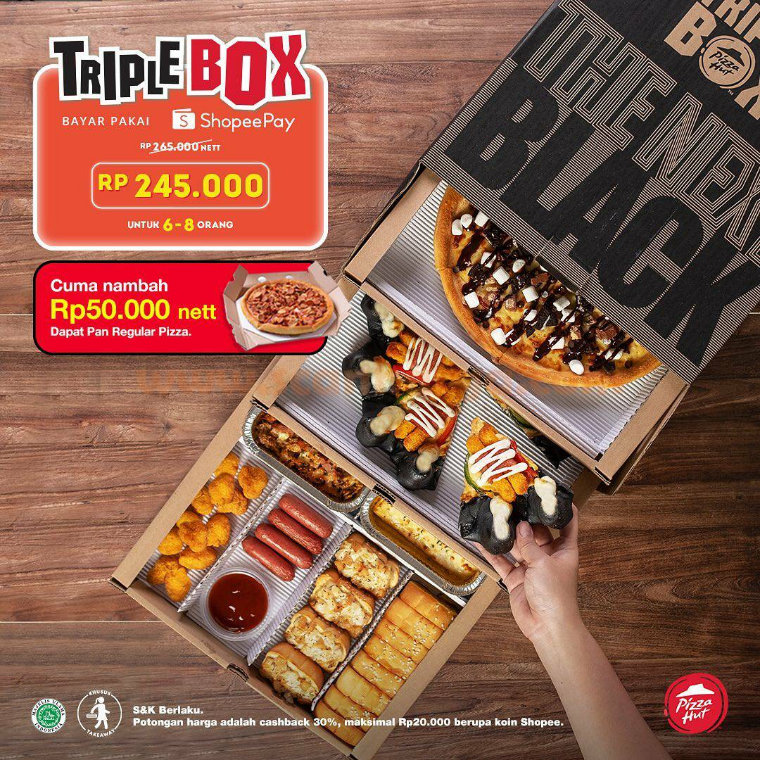 PIZZA HUT Promo Triple Box – Cuma tambah Rp 50.000 GRATIS Pan Reguler Pizza