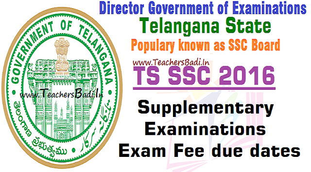 TS SSC,Supplementary Exams,Fee Due Dates,Schedule